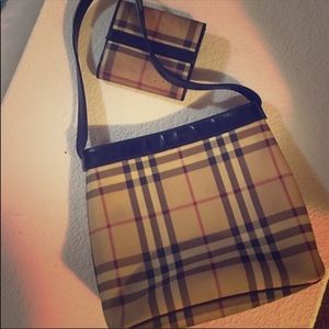 Burberry small arm tote with matching wallet